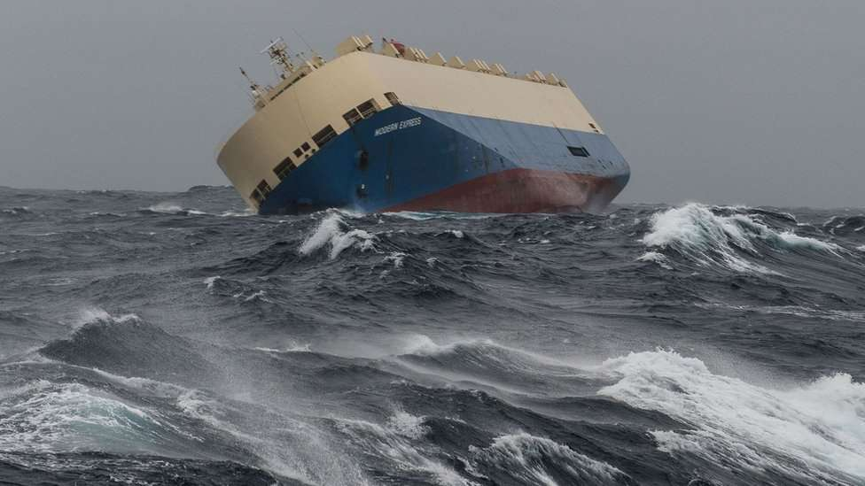 """© AP In this photo taken on Sunday, Jan. 31, 2016 the cargo ship """"Moderm Express"""" is pictured drifting off the coast of France."""